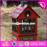 New Design Red House Shape Christmas Wooden Music Box W07b023b
