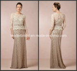 Lace Mother of The Bride Dress Champagne Long Sleeves Formal Evening Dress E151204