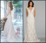 V-Neck Sheath Sweep Train Lace Tulle Bridal Wedding Gowns Dresses Wdo96