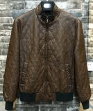 Man Diamond Quilted Bomber PU Leather Jacket