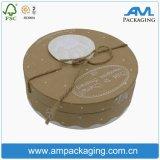 Eco-Friendly Food Grade Biscuit Packaging Brown Kraft Paper Round Flat Box