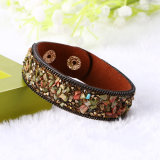 Fashion Colorful Natural Stone Crystal Bangle Leather Bracelet Jewelry