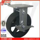 """6""""X2"""" Gray Cast Iron Rigid Caster with Side Brake"""