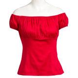 2017 Hot Sell Vintage Inspired Ladies Short Sleeves Red Tops