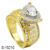 925 Silver Fashion Women Rings with 14k Gold Plated CZ Ring