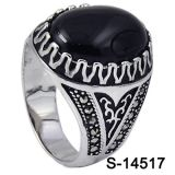 Factory Wholesale 925 Sterling Silver Ring with Black Agate