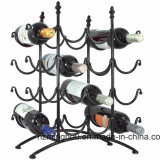 16 Bottle French Country Stainless Metal Wine Rack Black Wire Display