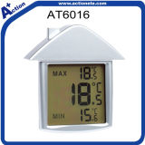 Cute Design Suction Cup Digital Indoor Window Thermometer with Time