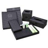 Black Straw Mat Squarenapkin Storage Tissue Box