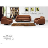 Modern Leather Office Sofa with Metal Base (SF-6045)