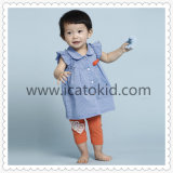 Blue Fashion Casual Smocked Dress Baby Girl Dress for Infant