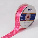 25mm Pink Polka Dots Printed Satin Ribbon