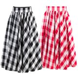 Cotton Poplin Plus Size Pleased Plaid Skirts Women Custom Skirts