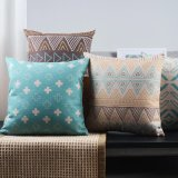 Cotton Linen Print 18X18 Inch Accent Pillows for Sofa
