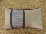 Color Block Grey/Khaki Embroidery Oblong Pillow