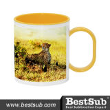 Bestsub 11oz Inner Rim Yellow Sublimation Polymer Mug (BPM06Y)