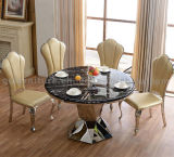 Modern Dining Table with Marble Top Steel Leg