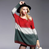Women′s Knitted Sweater Oversize Printing Pullover Long Sleeves New