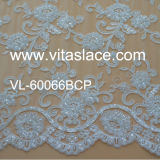 Manufacture Rayon Corded &Beaded Wedding Lace Fabric Vl-60066bcp
