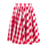 Cotton Poplin Maxi Pleased Skirts Women Casual Summer Plaid Skirt