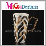Daily Use Golden Design Cup with Handle Ceramic Mug