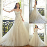 Natural A Line Sweetheart Appliqued Tulle Wedding Dress with Sash