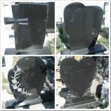 China Shanxi Black Granite Diamond Carved Upright Tombstone