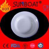 Plain White+Blue Rim Enamel Dish Simple Designed