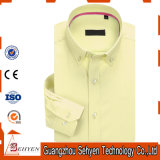 100%Cotton Yellow Long Sleeve Slim Formal Dress Shirt for Men
