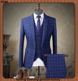 3 Piece Mens Blue Check Fashion Clothing Business Suits