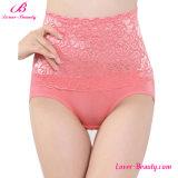 Magic Peach Pink High Waist Lace Ladies Sexy Underwear with Flowers