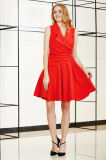 Solid Wrap Front Sleeveless Dress with Lapels