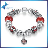 Antique Flower Pendant & Red Beads, Star Crown Charms Bracelets Jewelry