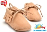 Wholesale Tassel Shoes Soft Soles Lace-UPS Shoes Indoor Toddle Shoes with Nubuck Upper