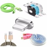 Magnetic 8pin Lightning Cable LED Retractable Flat Light Cable for iPhone Samsung Mobile Phone Braided Cable