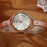 OEM ODM Customize Leather Strap Steel Case; Quarts Gift Watch for Women (WY-001V)
