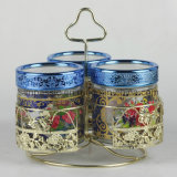 3PCS Storage Jar Sets with Gold/Silver Coated Lid&Bracket (SG1529SJ)
