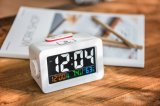 Colorful Display Rotating USB Charge Clock with Temp&Humidity