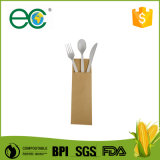"""6"""" Compostable Biodegradable Cpla Cutlery Kit Kraft Bag Wrapped for Hotel"""