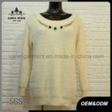 Ladies Beaded Neck Fuzzy Warm White Sweater