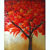 Customizing Beautiful Scenery Canvas Art Newest Handmade Red Tree Painting (LH-011000)