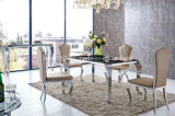 Modern Dining Room Stainless Steel Glass Top Dining Table Set (tes)