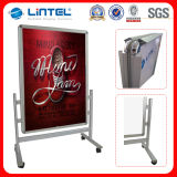 Aluminum Poster Board Movable Poster Stand with Wheels (LT-10D)