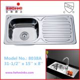 Single Bowl with Drain Board Kitchen Sink, Bar Sink, Stainless Steel Sink, Wash Sink (8038A)