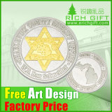 High Quality Cheap Custom Gold/Silver Plated Commemorative Coin