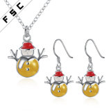 Promotional Gift Snowman Necklace Earring Jewelry Set for Christmas