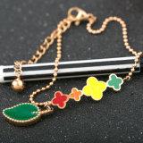 Beautiful Women Fashion Jewelry Stainless Steel Bead Flower Charm Bracelet