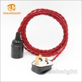 Hot Sales BS Certification Braided Twisted Textile Plug Cord Set with Lampholder