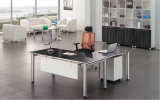 Modern Office Desk with Glass Top and Metal Leg