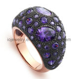 Steel Jewelry Ring with Corundum Setting by Hand